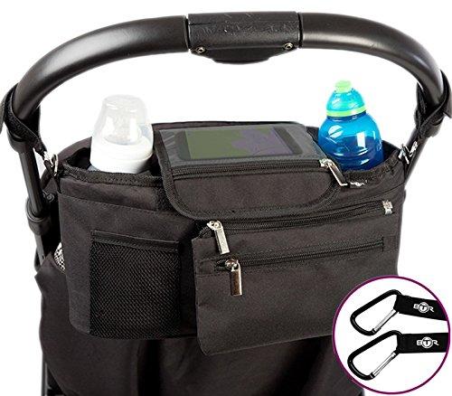 BTR Kinderwagen- / Buggy-Organizer oder Aufbewahrungstasche mit Reißverschlusstasche und Geldbeutel. Baby Kinderwagentasche PLUS Kinderwagen Clips x 2
