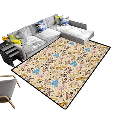 Soft Bedroom Rugs Animal, Abstract Shaggy Rug for Bedroom Musician Playful Animals Instruments Accordion Trumpet Violin Drum Concert Decorative and Best Gift for Children Multicolor, 5 x 8 Feet