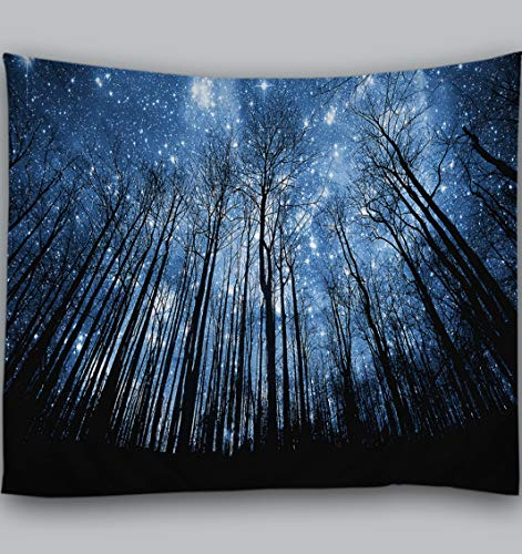 Amiiba Forest Starry Sky Wall Tapestry Galaxy Milky Way Tapestry Wall Hanging Trees Night Home Decoration for Bedroom Living Room (Forest2, L - 79'x59')