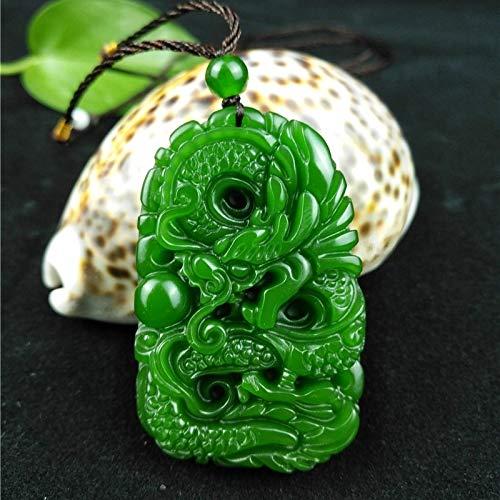 K-ONE Natürliche grüne Hetian Geschnitzte Jade Stein Drachen Anhänger Halskette Chinesische Jadeit Schmuck Charm Reiki Amulett Geschenke für Frauen Männer