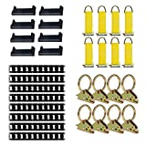 E-Track Tie-Down KIT! 8 Powder-Coated 5' Horizontal E Track Rails, 8 End Caps, 8 Rope Tie-Offs, 8 O Rings | Trailer Accessories, Cargo Securement
