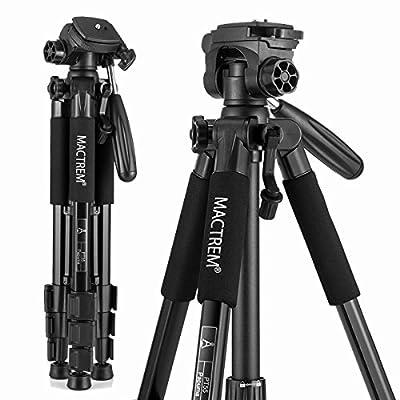 Mactrem PT55 Travel Camera Tripod Lightweight Aluminum for DSLR SLR Canon Nikon Sony Olympus DV with Carry Bag -11 lbs(5kg) Load