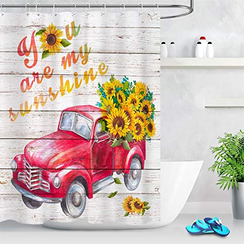 LB Bright Yellow Sunflower Shower Curtains for Bathroom Red Truck Pulling Yellow Flowers Farm Shower Curtain with 'You are My Sunshine' on Rustic Wood Girls Bathroom Decor 72x72 Polyester Fabric