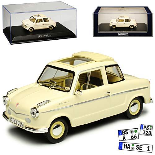 NSU Prinz II Beige 1958-1960 1/43 Norev Modell Auto mit individiuellem Wunschkennzeichen
