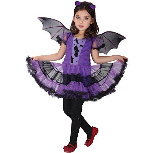 Fossen Disfraz Halloween Niñas 2-15 Años Vestidos y Sombrero Bruja Ropa Costume Vestirse (4-5 años, Purple - ala)
