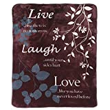 Shavel Home Products Luxury Hi Pile Oversized Throw, 60x80, Live Laugh Love