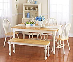 "Easy to assemble white and natural dining set Table: 58.66"" L x 35.04"" W x 29.45"" H Bench: 48"" L x 14"" W x 17.72"" H Chairs: 36.25"" L x 17.75"" W x 19.25"" H Note: items will ship in 4 separate boxes and may not arrive at the same time"