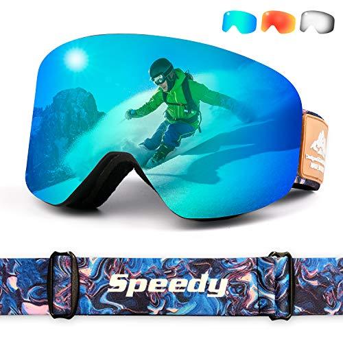 Leader Accessories Skibrille UV400 Sonnenschutz rahmenlose Snowboardbrille S3 Schönwetter auswechselbare zylindrische Scheibe Antibeschlagschutz Brillenträger Erwachsene Blau