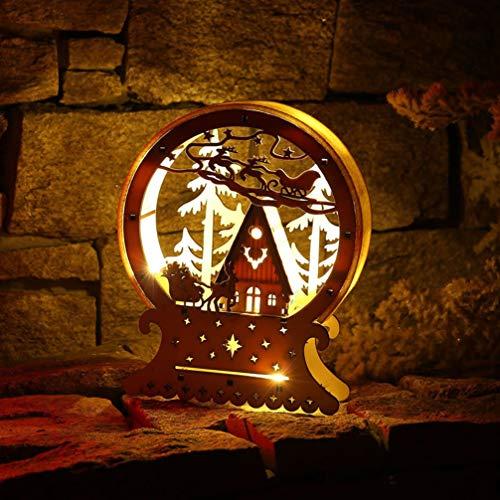 Mobestech 2 piezas de escritorio de navidad luz de madera luminosa artesanía ciervos cabaña de troncos adornos de mesa decoración de luz de estado con batería para el hogar