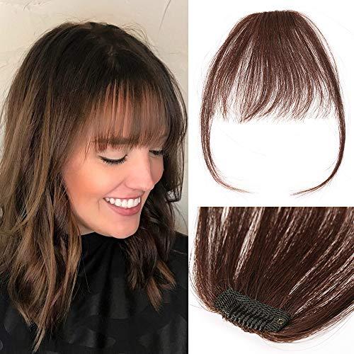 TESS Pony Haarteil Extensions Echthaar Clip in Haarverlängerung dünne Pony glatt 1 Clip günstig Extension 3g Schwarbraun
