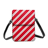 Bolso cruzado pequeño para mujer, diseño navideño rojo y blanco con bastón de caramelo para teléfono celular, cartera multiusos, de piel sintética suave
