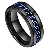 King Will Intertwine 8mm Spinner Ring Black Blue Stainless Steel Fidget Ring Anxiety Ring for Men
