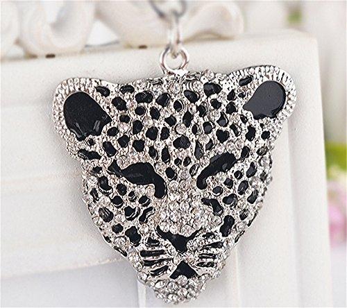 JewelBeauty - Llavero con forma de cabeza de leopardo de cristal para...