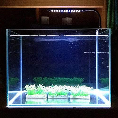 WML-Licht Aquarium Light 48 LED DC 15 V 3 W 2 modi kunststof aquarium plant hengelaar clip op wit en blauw lamp verstelbare arm energiebesparend aquarium, S