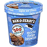 Ben & Jerry's - Moo-phoria! Light Ice Cream, Non-GMO - Fairtrade - Cage-Free Eggs - Caring Dairy - Responsibly Sourced Packaging, Mocha Fudge Brownie, Pint (8 Count)