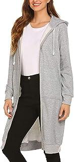 Twinklady Women's Casual Pockets Zip up Hoodies Tunic Sweatshirt Long Hoodie Jacket S-XXL