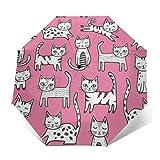 TISAGUER Paraguas automático de Apertura/Cierre,Figuras de Palo de Arte Moderno,un Grupo de Lindos Gatitos sobre un Fondo Rosa,Paraguas pequeño Plegable a Prueba de Viento