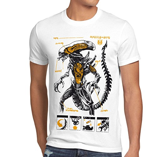 style3 Xenomorph Alien Herren T-Shirt Ripley Kino Prometheus Nostromo, Größe:S, Farbe:Weiß