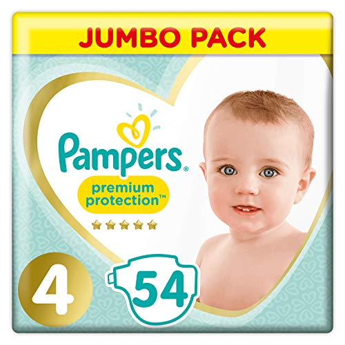 Pampers Premium Protection Jumbo Pack Soft Comfort Approved by British Skin Foundation Größe 4 54 Windeln 9-14 kg