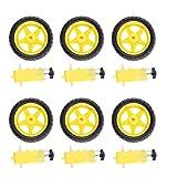Baoblaze 6 x DC-Getriebemotor Getriebemotor + 6 x Rad Räder Tire Reifen für Arduino Roboter, Intelligente Auto DIY
