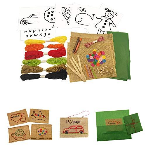 8around-Kit bordado, set de manualidad de costura para principiantes en tela arpillera de yute
