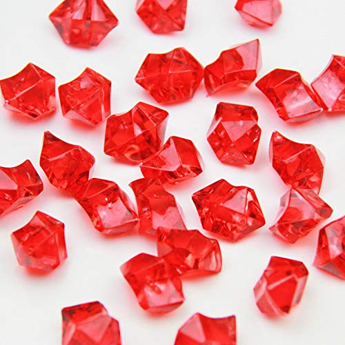 Red Acrylic Ice Rock Crystals Treasure Gems for Table Scatters, Vase Fillers, Wedding, Banquet, Party, Event, Birthday Decoration (Red, 150)