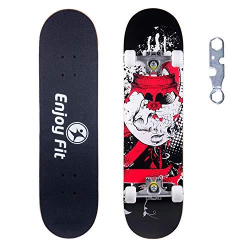 EnjoyFit Skateboard Komplettboard 80 x 20 cm mit ABEC-7 Kugellager 9-lagigem Ahornholz für Kinder Jungendliche und Erwachsene, Belastung 150kg (Schwarzer Ritter)