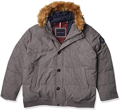 Tommy Hilfiger Men s Arctic Cloth Full Length Quilted Snorkel Jacket Regular and Big Sizes Heather product image