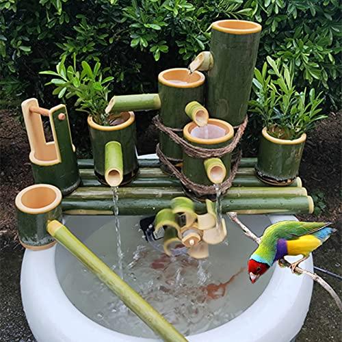 BTHDPP Bambusbrunnen Dekor, Garten Brunnen Outdoor, Garten Wasserspiel Wasserspeier mit Wasserpumpe, Bambuslöffel, Wasserrad, Kleiner Eimer, Gartendekoration, Wasserfall,80cm