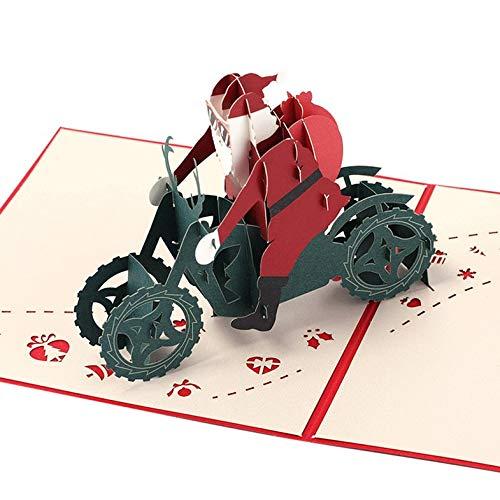 BianchiPamela Creative 3D Christmas Greeting Card Santa Claus Card Festival Blessing Card