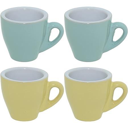 CREOFANT Lot de 4 tasses à expresso – Tasses pastel – Tasses à café – Tasses à café en céramique – Gobelets pastel (turquoise – jaune)