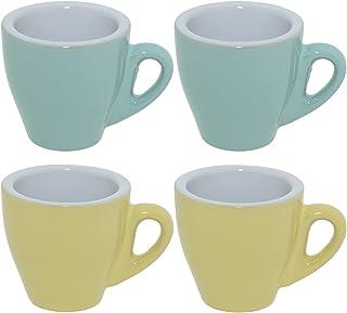 CREOFANT Lot de 4 tasses à expresso – Tasses pastel – Tasses à café – Tasses à café en céramique – Gobelets pastel (turquo...