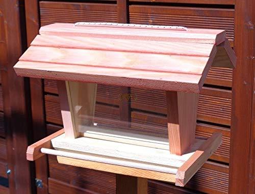 vogelhaus mit ständer BTV-X-VOFU2G-MS-rot001 Schönes PREMIUM Vogelhaus mit ständer, 3D-SILO – VOGELFUTTERHAUS MIT 2 GROSSEN SICHTSCHEIBEN wetterfestes Vogelfutterhaus MIT FUTTERSCHACHT-Futtersilo Futterstation Farbe Rot lachsrot behandelt , weinrot hellrot knallrot, Ausführung Naturholz, mit KLARSICHT-Scheibe zur Füllstandkontrolle, 100% Massivholz, QUALITÄTSPRODUKT vom Schreiner - 4
