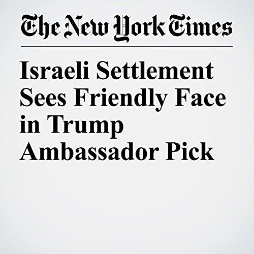 Israeli Settlement Sees Friendly Face in Trump Ambassador Pick copertina