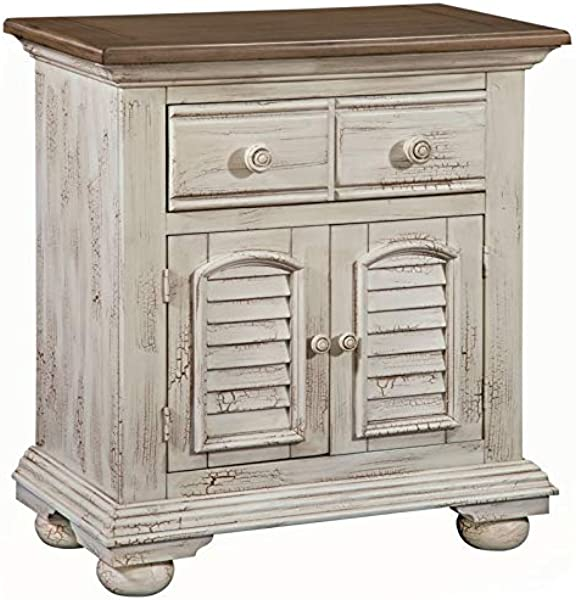 American Woodcrafters Cottage Traditions Crackled White Large Nightstand