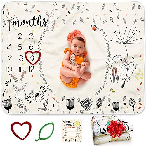 BANANGO Manta mensual para bebé, unisex, 130 x 100cm, 2 marcos+1 tarjeta para anuncio de nacimiento | Manta de mes para bebé, Watch Me Grow | Cobija personalizada para niños y niñas | Regalo de nacimiento y registro de bebé