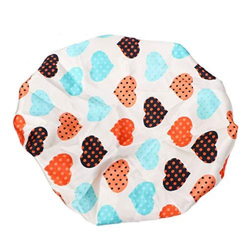 HEALLILY Bonnet de Sommeil en Soie Couches Imperméables Bain de Douche Chapeau Protection des Cheveux pour Un Usage Domestique Et Spa Salon de Coiffure (Coeur Beige)