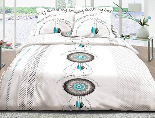Le linge de Jules Parure Drap Plat + Drap-Housse 140x190 + 2 T - Pur Coton 57 Fils - Dream Turquoise