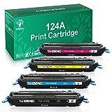 GREENSKY Compatible Toner Cartridge Replacement for HP 124A Q6000A Q6001A Q6002A Q6003A Color Laserjet 1600 2600n 2605dn 2605dtn 1015 1017 MFP (Black, Cyan, Yellow, Magenta, 4-Pack)