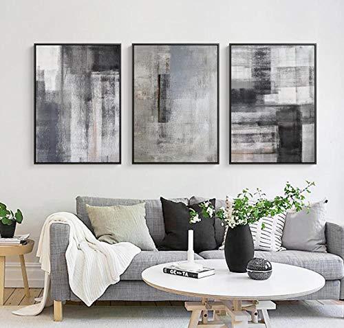 BBDNIW Gris Blanco Abstracto Moderno Minimalista Lienzo Pintura Arte impresión Cartel Imagen Dormitorio Estudio decoración (60x90 cm) x3 sin Marco