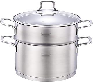 Vaporizador de Acero Inoxidable 304 / Olla de Sopa 1 Capa Hogar con vaporizador 24 cm Engrosado Adecuado para Estufa de Gas/Cocina de inducción Adecuado para 3-5 Personas