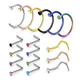 Incaton Nose Ring, 16PCS 316L Surgical Stainless Steel Body Jewelry Piercing Nose Hoop Ring and L-Shape Ring