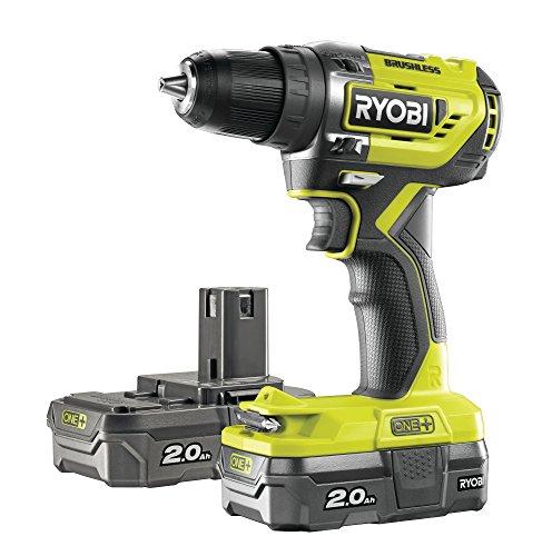 Ryobi r18dd5–220S trapano avvitatore One + senza spazzole di 18V con 2batterie da 2,0Ah, 0W, 18V, Verde, Standard