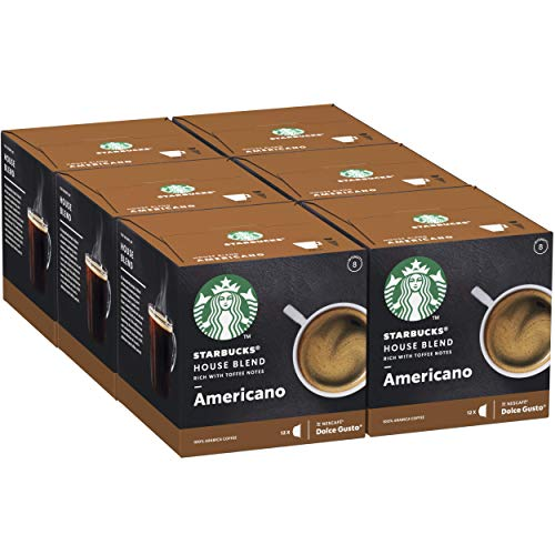Starbucks House Blend Americano di Nescafe Dolce Gusto Caffè Dalla Tostatura Media 6 Confezioni da 12 Capsule (72 Capsule)