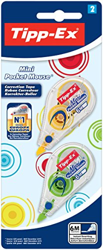 Mini Pocket Mouse Fashion Tipp-Ex Correction Scooter, 5 mm X 5 M, Blister A 2 pcs, 4-Specialised Sorted