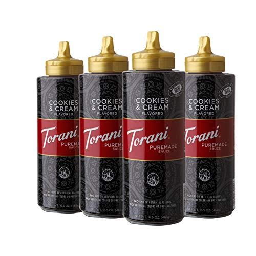 Torani Puremade Cookies & Cream Puremade Sauce, 16.5 Ounces (Pack of 4)