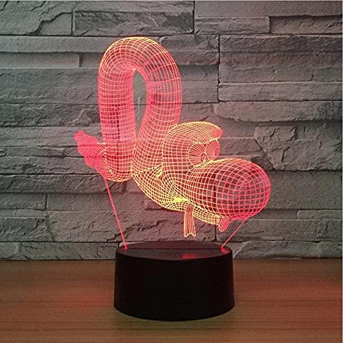 DXJA HCDZF 3D ilusión lámpara casa inteligente 3D lámpara colorido control llevado noche luz moda cumpleaños encantador 7 color cambio luz accesorios
