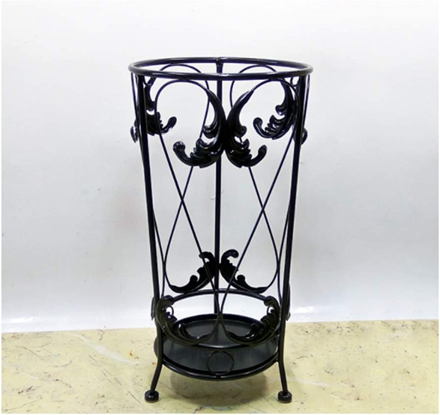 Achang Warm and Simple Carved Wrought Iron Umbrella Stand Home Hotel Large Capacity Storage Rack (color   Black)