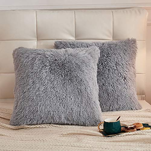 KB & Me Boho Off White Cream Fuzzy Faux Fur Plush Pillow Cases Standard Queen Pillowcase Sham Cover Set for Bed Ivory Soft Shaggy Fluffy Decorative Accent College Dorm Teen Home Room Decor Set of 2