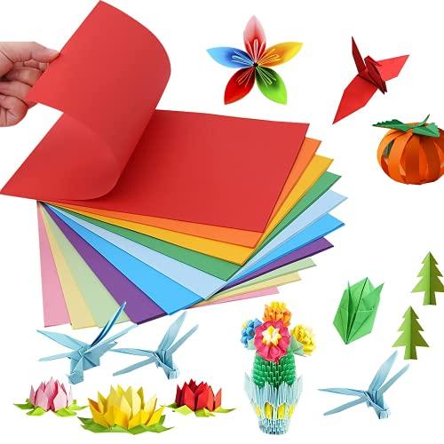 QincLing Origami Papier, 100 Blatt 10 Farben Bastelpapier Doppelseitiges Origamipapier Farbiges Papier A4 Bastelpapier Bunt A4 Kopierpapier Tonpapier für DIY Kunst und Bastelprojekte